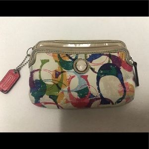 Colorful coach wristlet zippered wallet